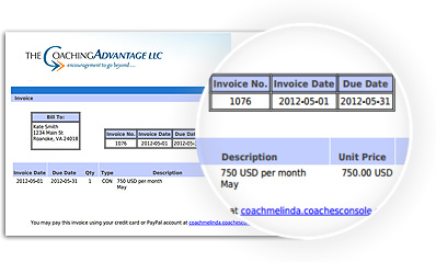 Create Your Own Invoices Billing  The Coaches Console Certified Mail Return Receipt Tracking Pdf with Invoice Ebay Excel Create Invoices Receipt Sorter Word